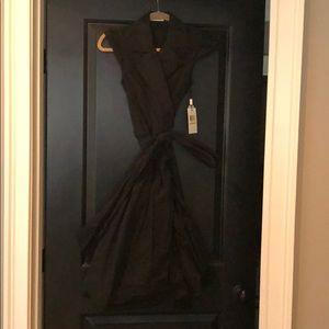 Calvin Klein black taffeta wrap dress